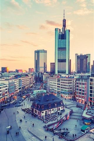 iPhone Wallpaper Frankfurt, Germany, city, roads, people, skyscrapers