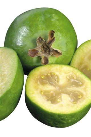 iPhone Fondos de pantalla Feijoa fresca, fruta, fondo blanco.
