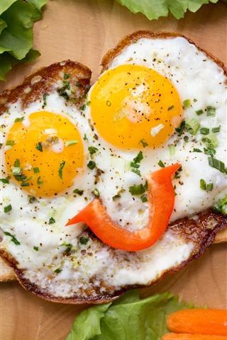 iPhone Papéis de Parede Ovos fritos, rosto, olhos, pimentas, criativo