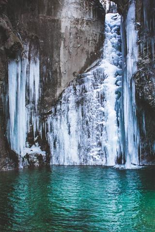 iPhone Fondos de pantalla Cascada congelada, hielo, nieve, estanque
