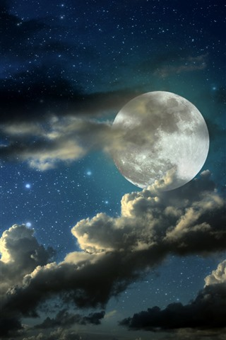 iPhone Wallpaper Full moon, clouds, starry, night