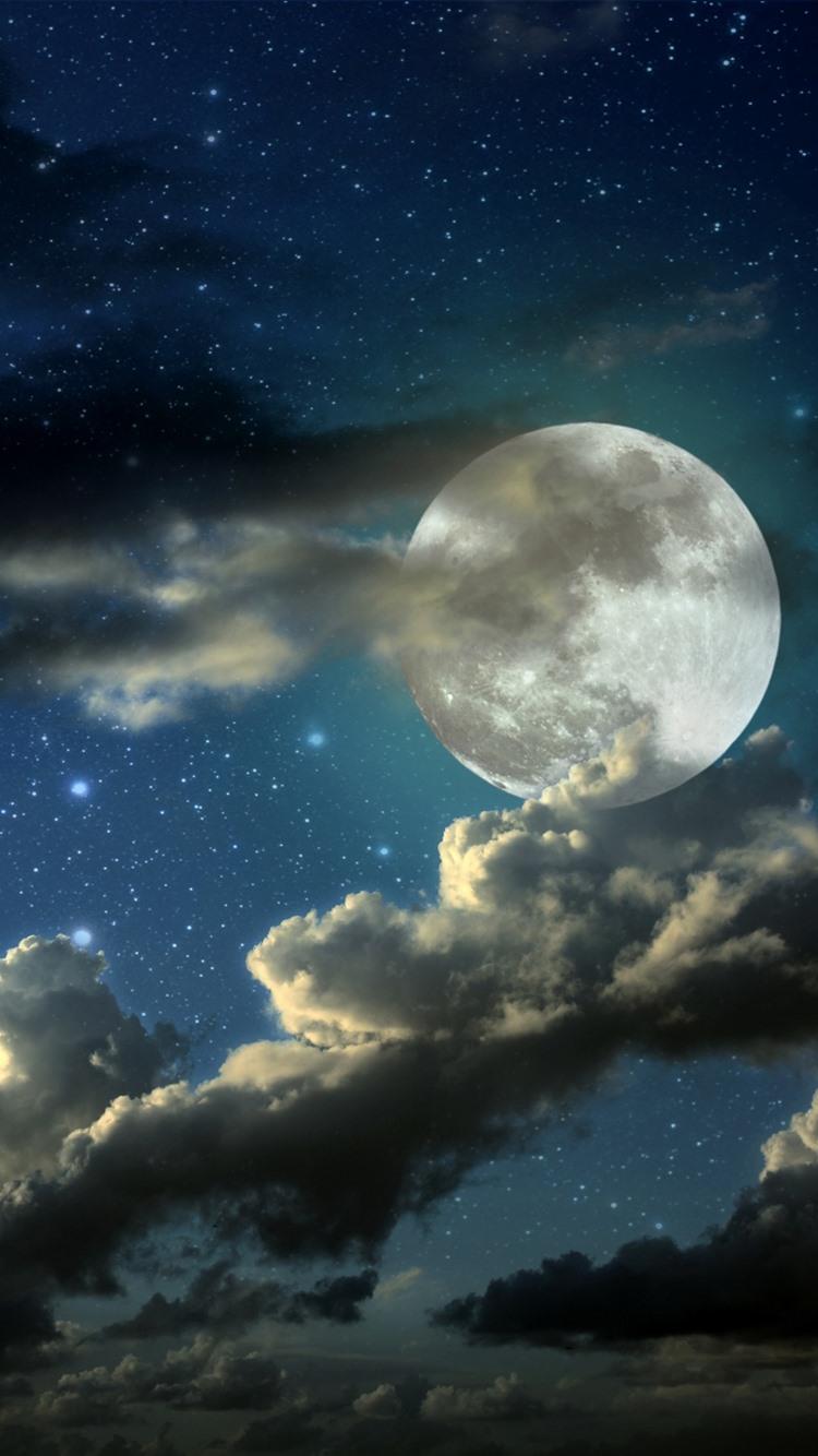 Papeis De Parede Lua Cheia Nuvens Estrelado Noite 3840x2160 Uhd