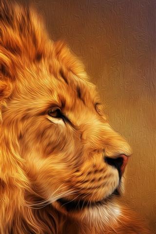 iPhone Papéis de Parede Leão peludo, juba, imagens de arte