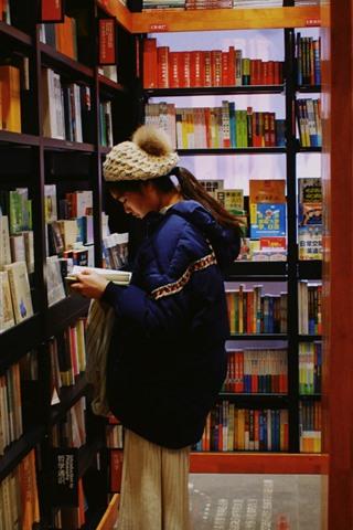 iPhone Wallpaper Girl reading book, book shop