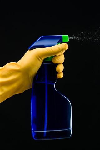 iPhone Wallpaper Gloves, hand, plastic bottle, cleaner, spray