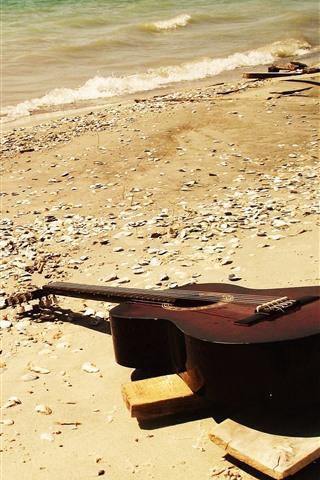 iPhone Papéis de Parede Violão, praia, mar