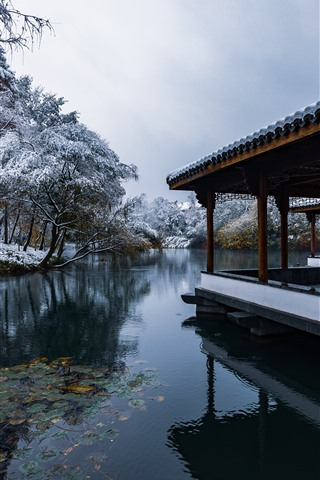 iPhone Wallpaper Hangzhou Snow View, park, lake, trees, winter, corridor