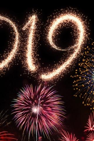 iPhone Wallpaper Happy New Year 2019, beautiful fireworks, city night
