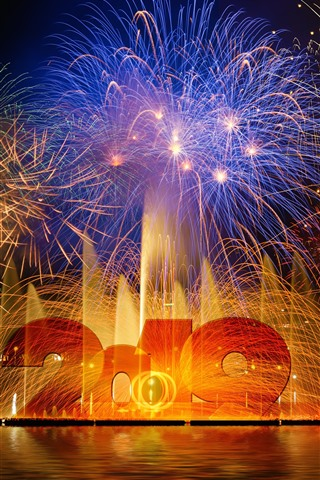 iPhone Wallpaper Happy New Year 2019, beautiful fireworks, night, water