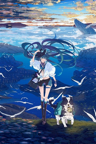 iPhone Wallpaper Hatsune Miku, anime girl, dog, seagull, sea, whale