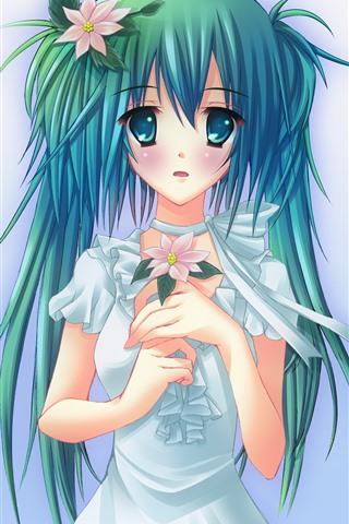 iPhone Wallpaper Hatsune Miku, beautiful blue hair girl, flowers