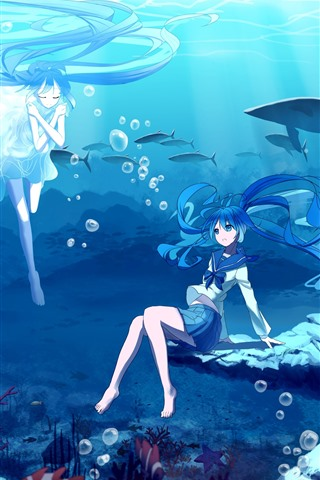 iPhone Wallpaper Hatsune Miku, blue hair anime girls, underwater, sea, fish
