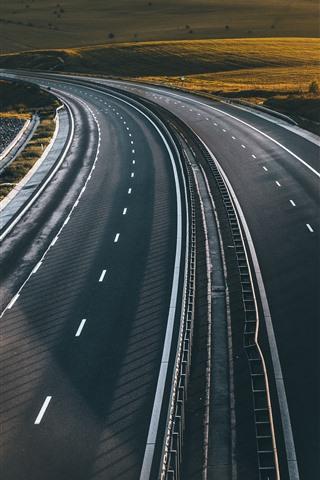 iPhone Fondos de pantalla Carretera, carreteras, sol, mañana