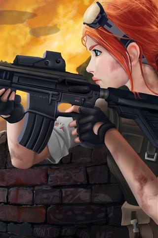 iPhone Fondos de pantalla Homefront: la revolución, muchacha del pelo rojo, arma, Jeep, cuadro del arte