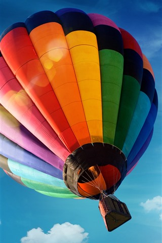iPhone Wallpaper Hot air balloon, colorful, blue sky