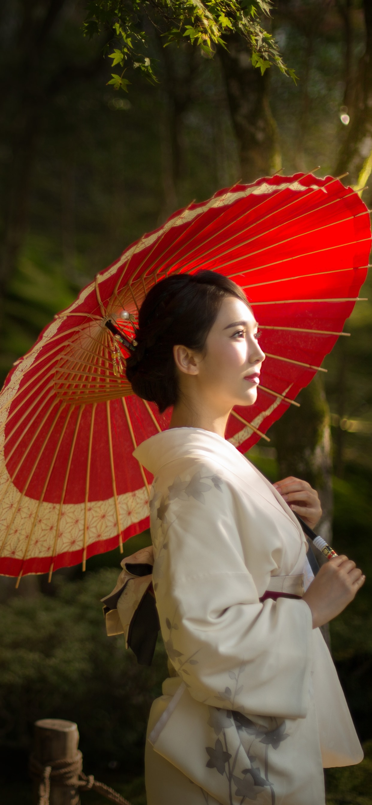 Japanese Girl Umbrella Trees 1242x2688 Iphone 11 Pro Xs Max Wallpaper Background Picture Image
