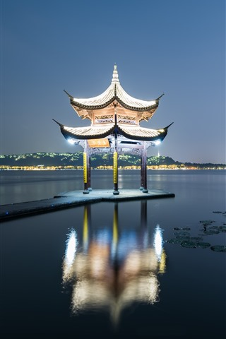 iPhone Wallpaper Jixian Pavilion, West Lake, Hangzhou, night, lighting, China