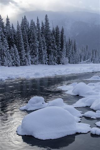 iPhone Wallpaper Kanas beautiful winter, snow, trees, river, clouds, China