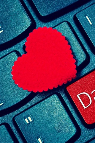 iPhone Wallpaper Keyboard, red love heart