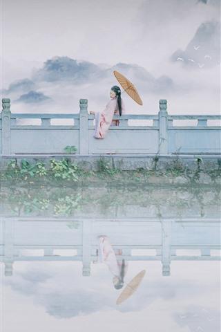 iPhone Wallpaper Lake, fence, retro style girl, mountains, fog, hazy