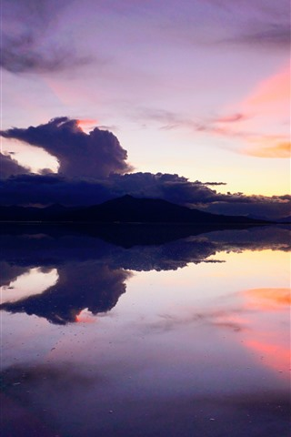 iPhone Wallpaper Lake, mountains, sunset, calm water surface, Bolivia