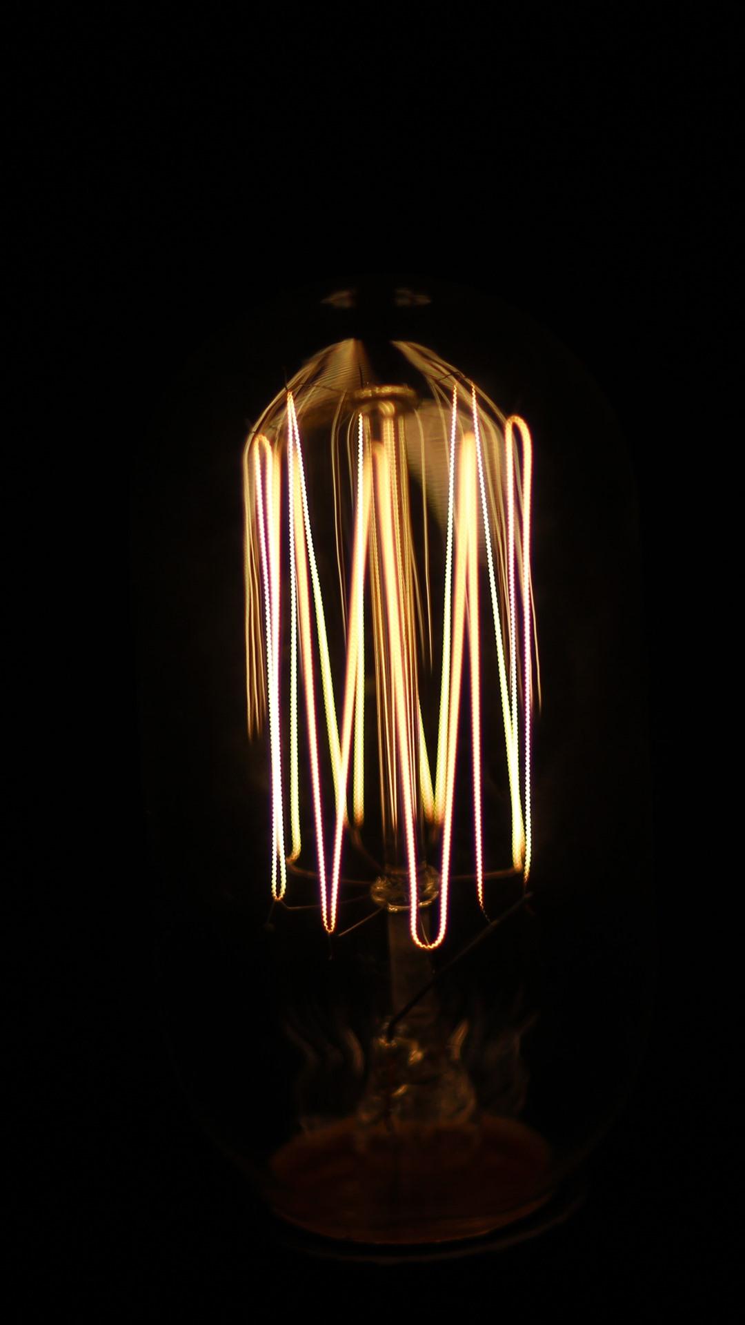 Lamp, light bulb, darkness 1242x2688 ...