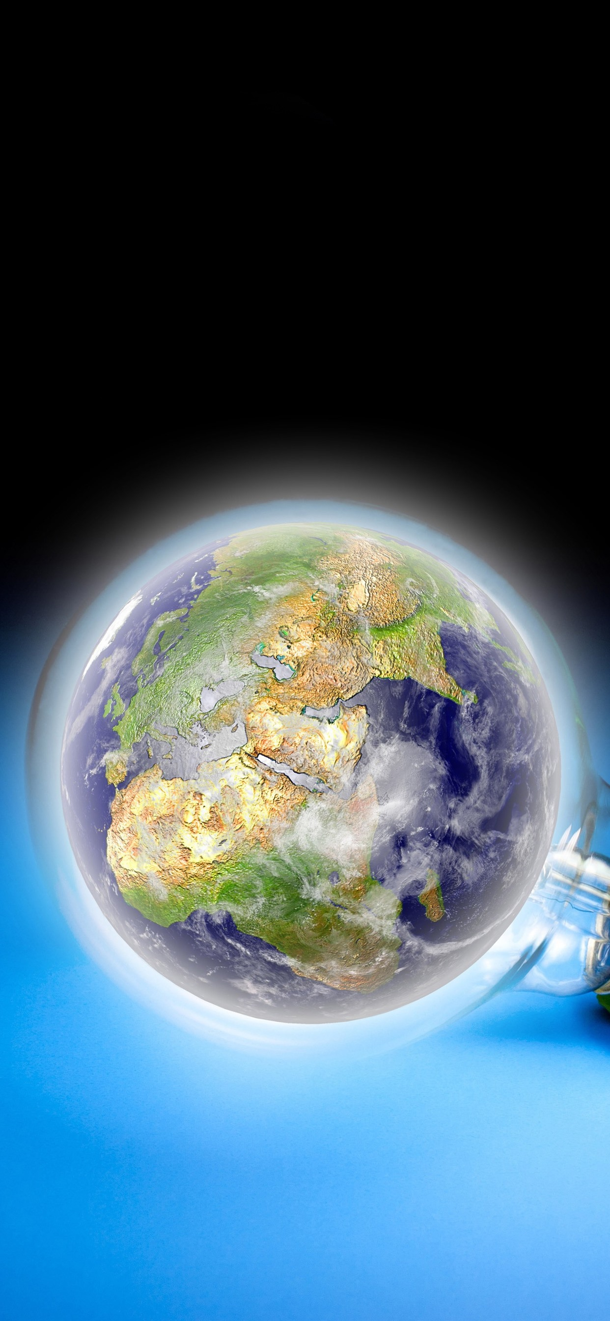 Light Bulb Earth Blue Background Creative Picture