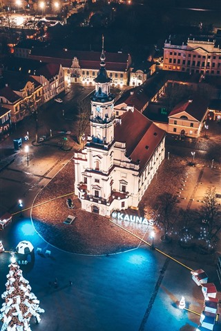 iPhone Wallpaper Lithuania, Kaunas, city night, lights, top view