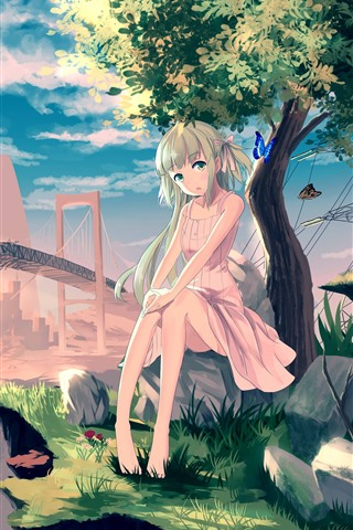 iPhone Wallpaper Lonely anime girl, tree, butterfly, broken bridge
