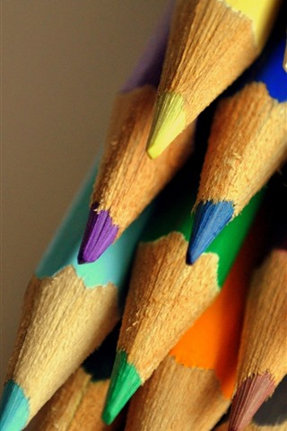 iPhone Wallpaper Many colorful pencils, crayons