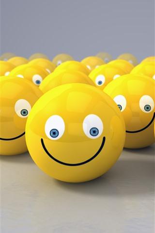 iPhone Fondos de pantalla Muchas caras sonrientes amarillas, diseño 3D