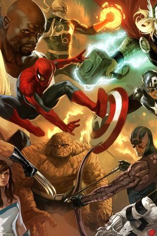 iPhone Wallpaper Marvel comics, superheroes, art picture