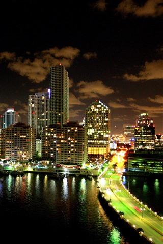 iPhone Wallpaper Miami, city night, skyscrapers, river, bridge, illumination, USA