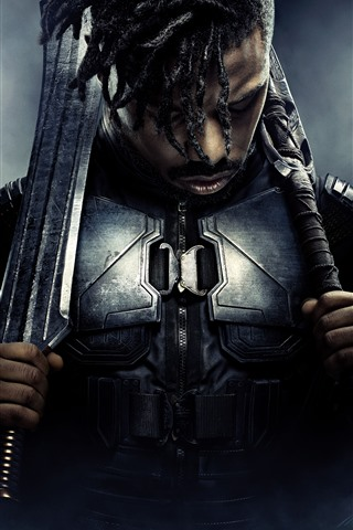 iPhone Wallpaper Michael B. Jordan, Black Panther