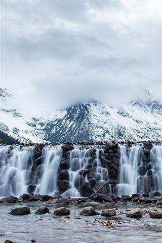 iPhone Wallpaper Mount Siguniang, snow, waterfall, stones, China