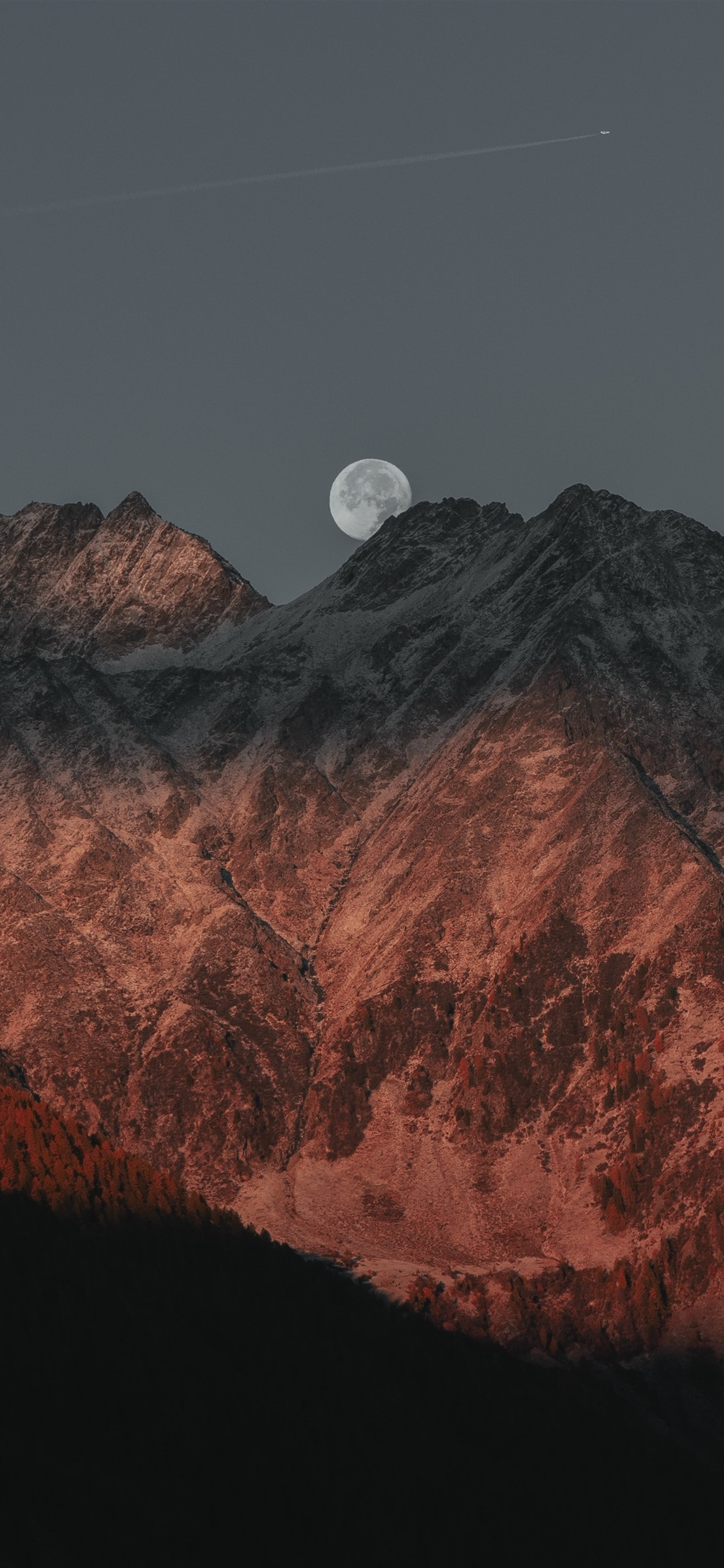 Mountain Shadow Moon Dusk 1242x2688 Iphone 11 Pro Xs Max Wallpaper Background Picture Image