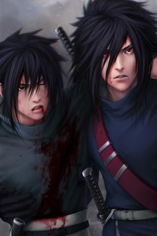 iPhone Wallpaper Naruto, two anime boys
