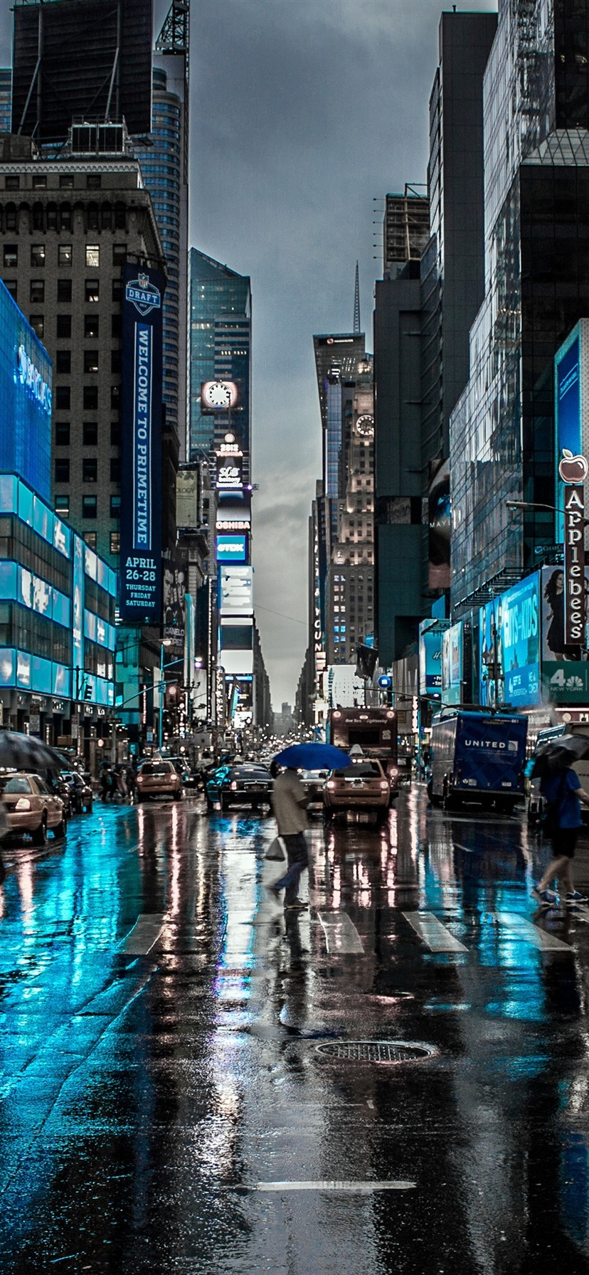 New York City Night Street Buildings Rain Usa