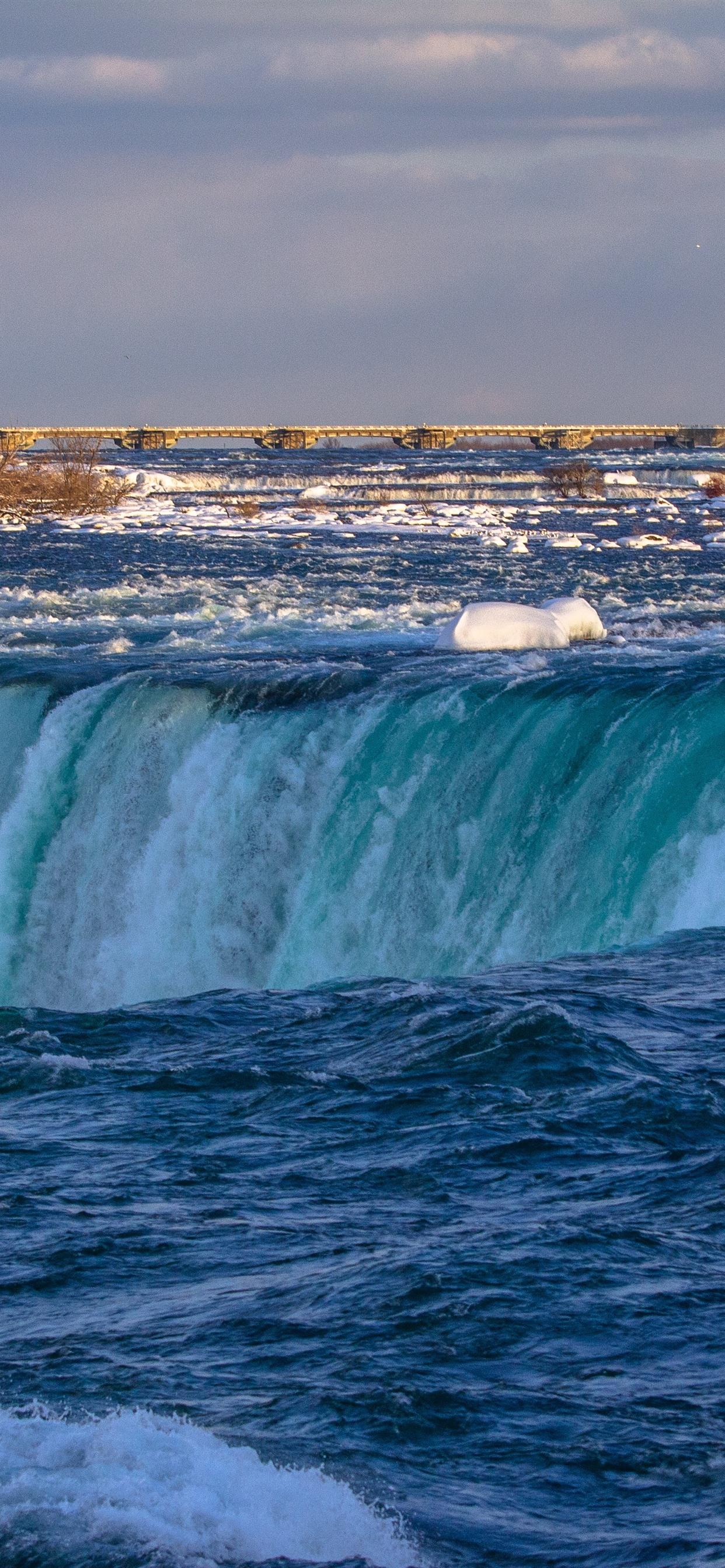 Wallpaper Niagara Falls Canada Water Snow Bridge Winter