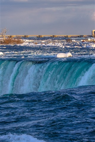 iPhone Wallpaper Niagara Falls, Canada, water, snow, bridge, winter