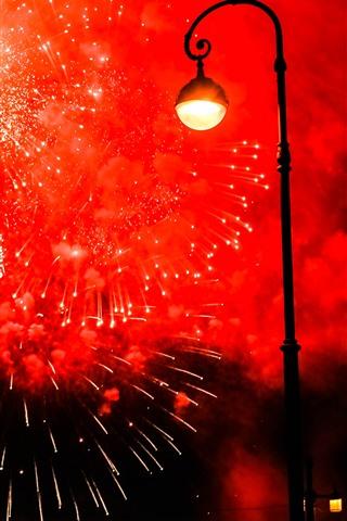 iPhone Wallpaper Night, lamp, fireworks, city
