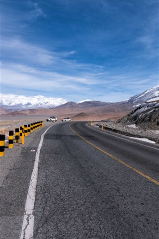 iPhone Wallpaper Pamirs, mountains, snow, road, cars