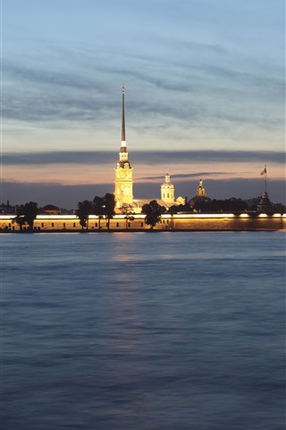 iPhone Wallpaper Peter and Paul Fortress, St. Petersburg, Russia, night, river