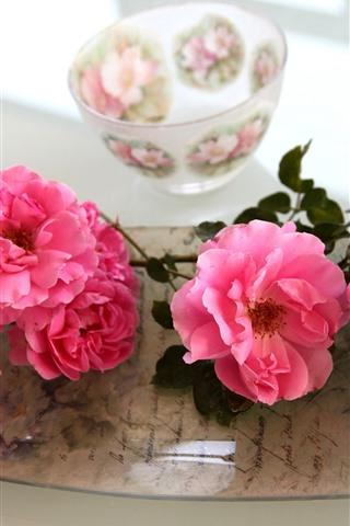 iPhone Fondos de pantalla Rosas rosadas, cuenco