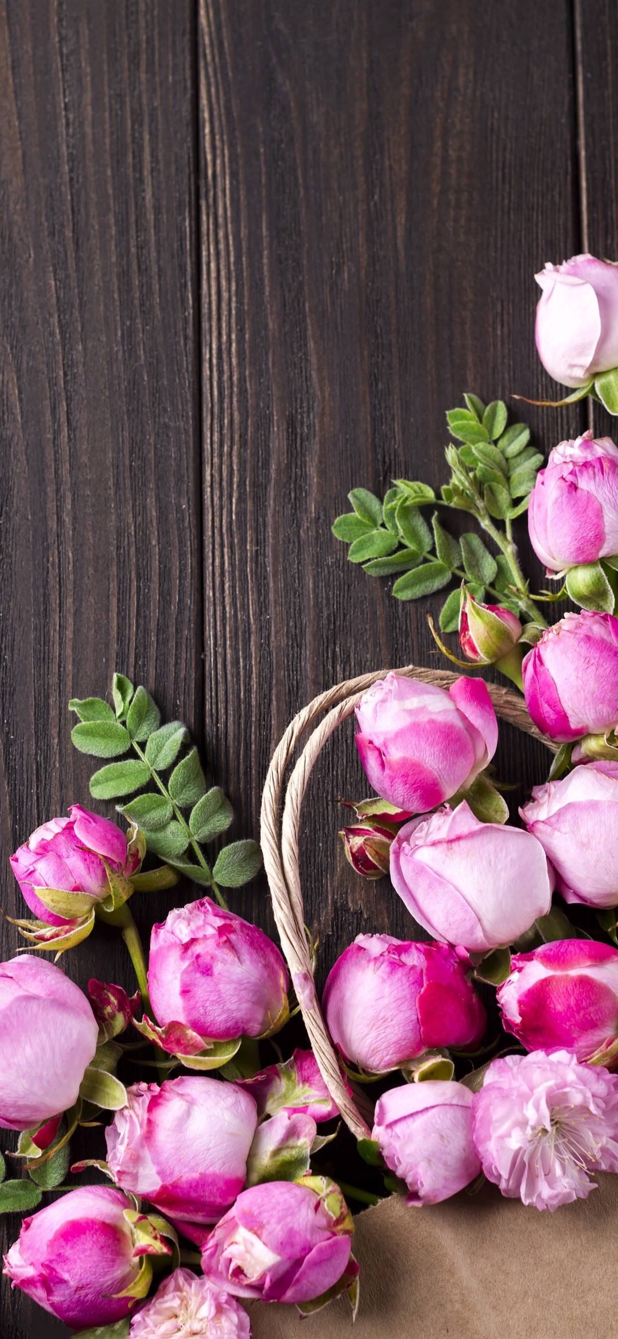Pink Roses Flowers Wood Board 1242x2688 Iphone Xs Max Wallpaper