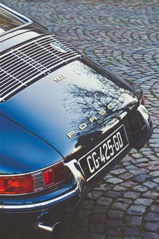 iPhone Wallpaper Porsche 911 supercar rear view, retro