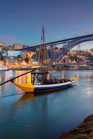 iPhone Wallpaper Portugal, Porto, city, river, boat, bridge, lights, dusk