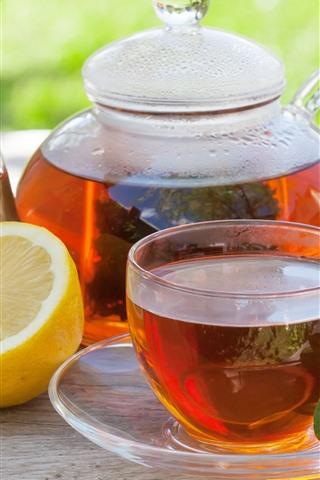 iPhone Wallpaper Red tea, lemon, kettle, cup