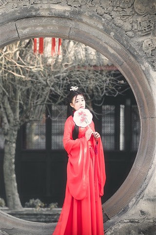 iPhone Wallpaper Retro style Chinese girl, red skirt, Han dynasty
