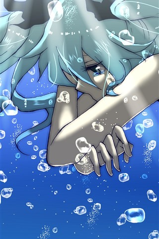iPhone Wallpaper Sadness anime girl, blue hair, tears, water, bubbles